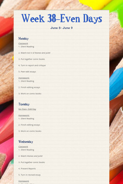 Week 38-Even Days