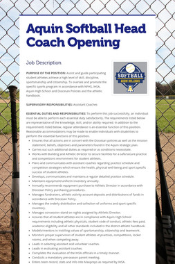Aquin Softball Head Coach Opening