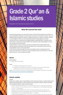 Grade 2 Qur'an & Islamic studies