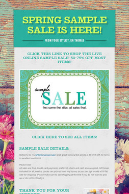 Spring Sample Sale is Here!