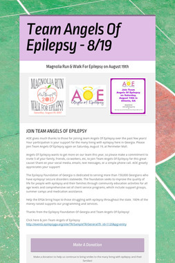 Team Angels Of Epilepsy - 8/19
