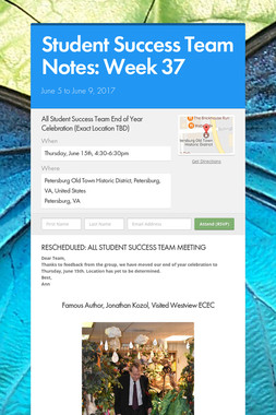 Student Success Team Notes: Week 37