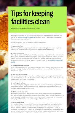 Tips for keeping facilities clean