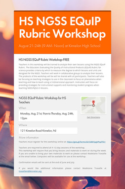 HS NGSS EQuIP Rubric Workshop