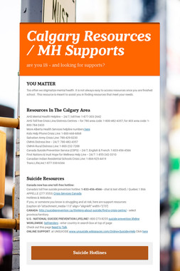 Mental Health Resources Calgary