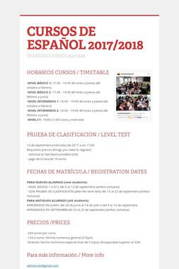 CURSOS DE ESPAÑOL 2017/2018