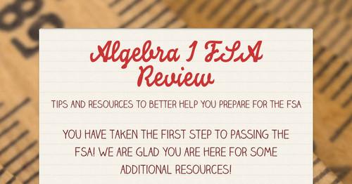 Algebra 1 FSA Review | Smore Newsletters