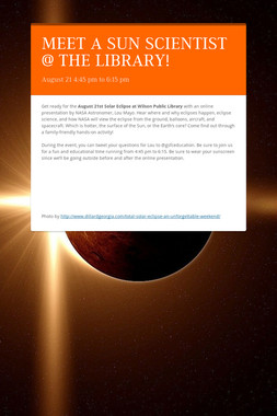 MEET A SUN SCIENTIST @ THE LIBRARY!
