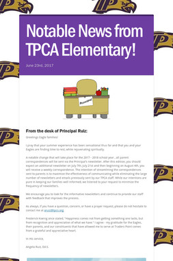 Notable News from TPCA Elementary!