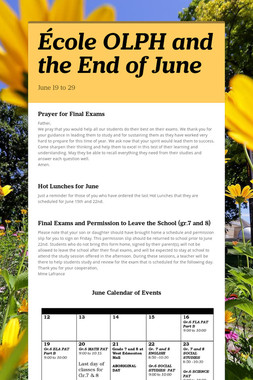 École OLPH and the End of June