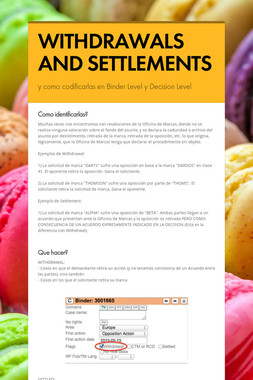 WITHDRAWALS AND SETTLEMENTS