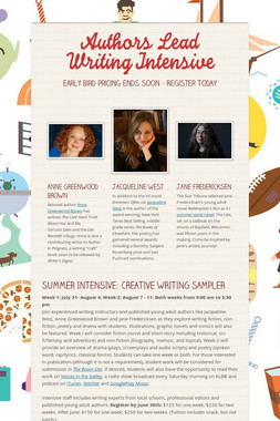Authors Lead Writing Intensive