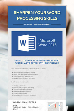 Sharpen Your Word Processing Skills