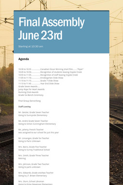 Final Assembly June 23rd
