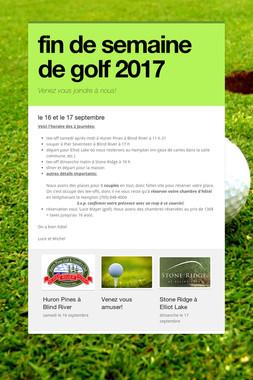 fin de semaine de golf 2017