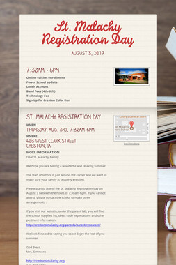 St. Malachy Registration Day