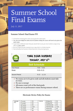 Summer School Final Exams