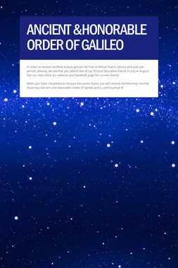 ANCIENT &HONORABLE ORDER OF GALILEO
