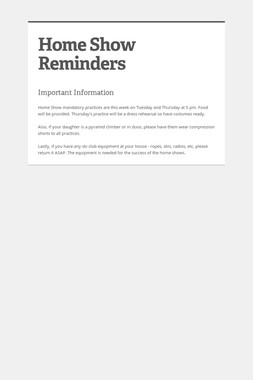 Home Show Reminders