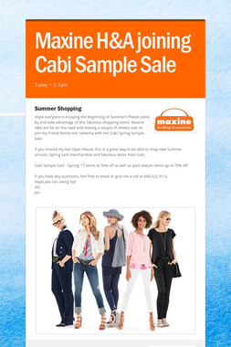 Maxine H&A joining Cabi Sample Sale