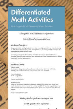 Differentiated Math Activities