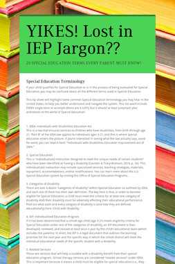 YIKES!  Lost in IEP Jargon??
