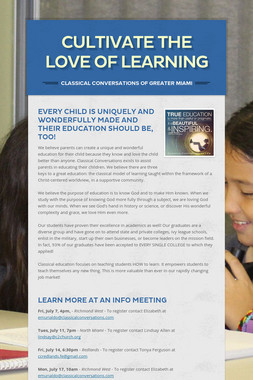 Cultivate the Love of Learning