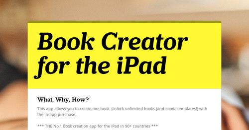Book Creator for the iPad | Smore Newsletters for Education