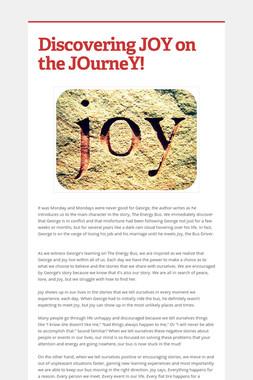 Discovering JOY on the JOurneY!