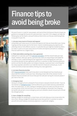 Finance tips to avoid being broke