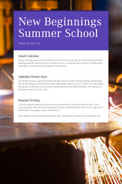 New Beginnings Summer School
