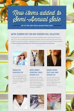 New items added to Semi-Annual Sale