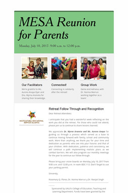 MESA Reunion for Parents