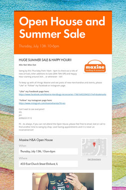 Open House and Summer Sale