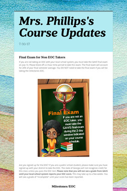 Mrs. Phillips's Course Updates