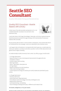 Seattle SEO Consultant