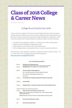 Class of 2018 College & Career News