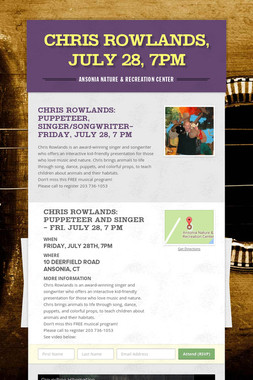 Chris Rowlands, July 28, 7pm
