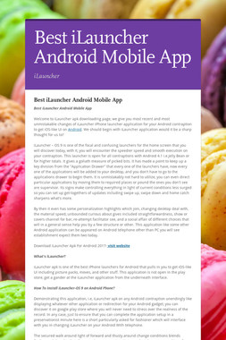 Best iLauncher Android Mobile App