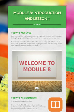 MODULE 8: Introduction and Lesson 1
