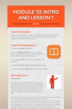 MODULE 10: Intro and Lesson 1