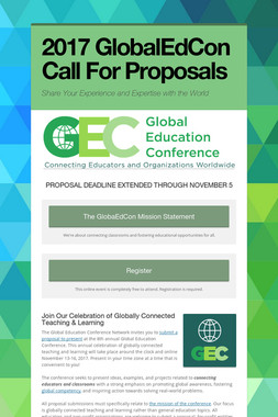 2017 GlobalEdCon Call For Proposals