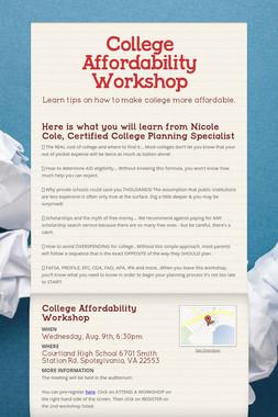 College Affordability Workshop
