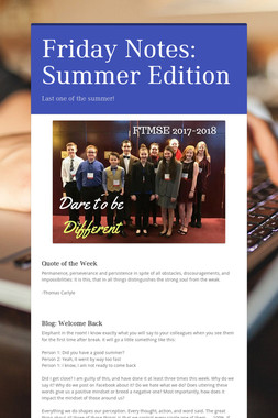 Friday Notes: Summer Edition