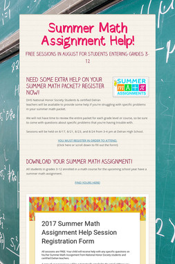 Summer Math Assignment Help!