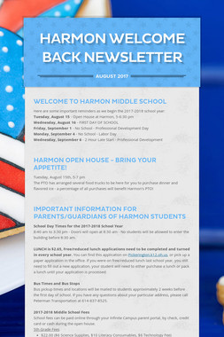 Harmon Welcome Back Newsletter