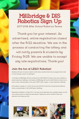 Millbridge & DIS Robotics Sign Up