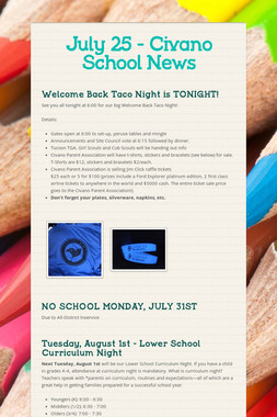July 25 - Civano School News
