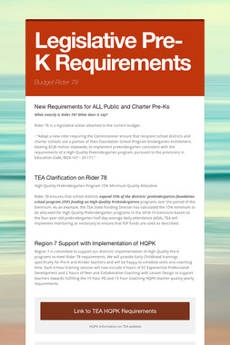 Legislative Pre-K Requirements