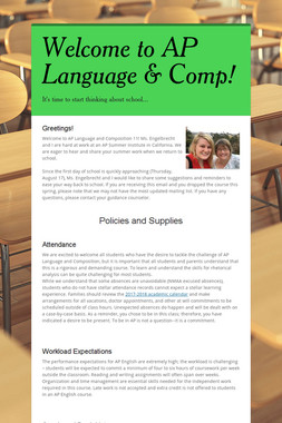 Welcome to AP Language & Comp!